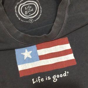Life is Good flag shirt